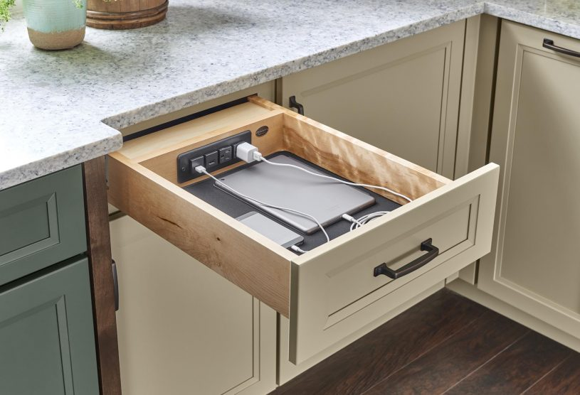 Yorktowne Cabinetry | Charging Drawer