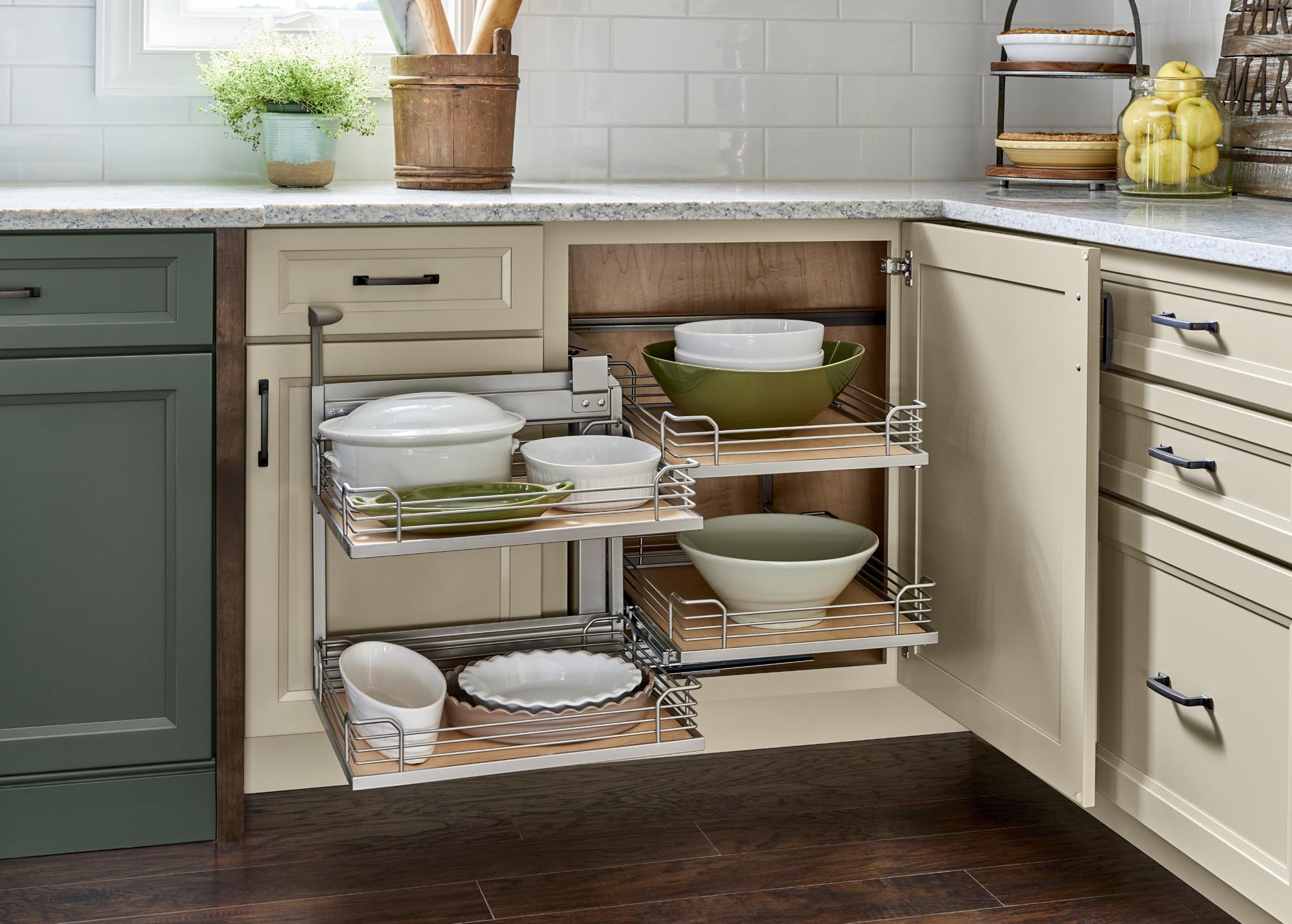 Yorktowne Cabinetry | Corner Base Cabinet Pull-Out