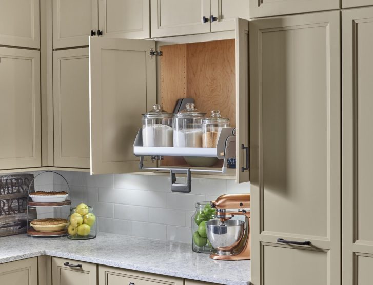 Yorktowne Cabinetry Wall Cabinet Pull Down Shelf